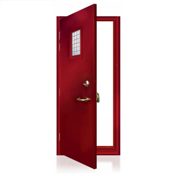 ExecDoor® 4 single doorset with fire rated vision panel.