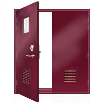 ExcluDoor® 5 double doorset with vision panel and lower ventilated panels.