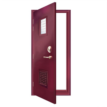 ExcluDoor® 5 single doorset with vison and vetilated panel.