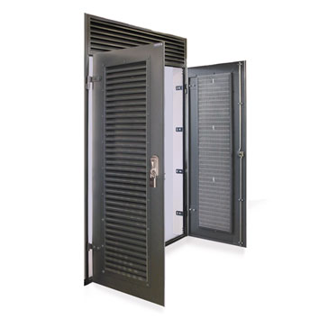 Double doorset with ventilated overpanel.