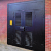 Double leaf heavy duty doorset with overpanels, side panels and lock shroud.
